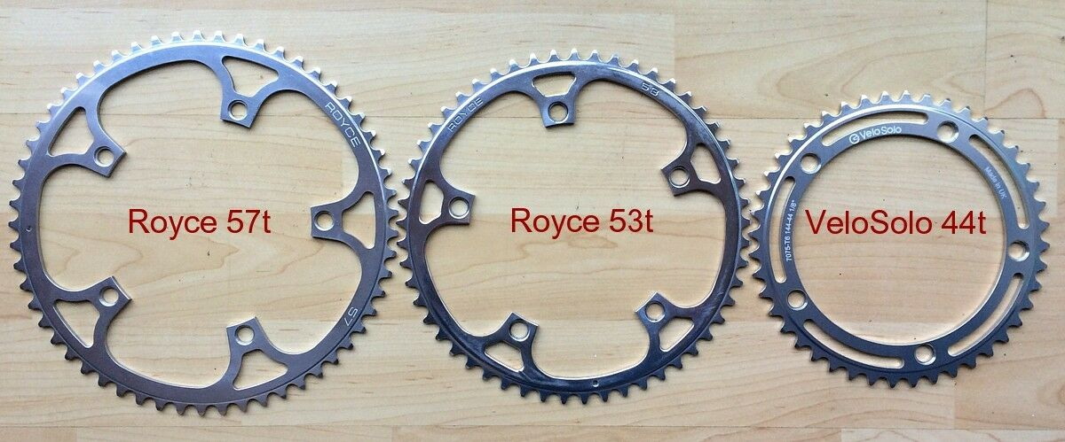 ROYCE NOS 144mm BCD POLISHED TRACK CHAINRING 53t or 57t UK MADE fixed chain ring