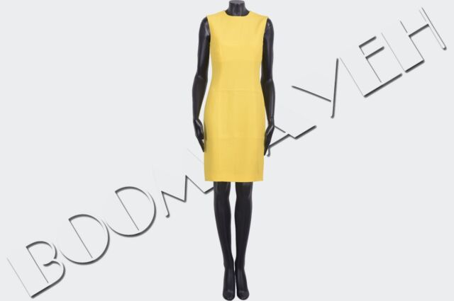 DSQUARED 795$ Authentic New Yellow Viscose Stretch Cady Dress sz 40