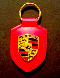 RED Porsche Leather Crest Key chain NEW