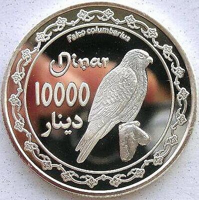Kurdistan 2006 Falcon 10000 Dinars Silver Coin,Proof