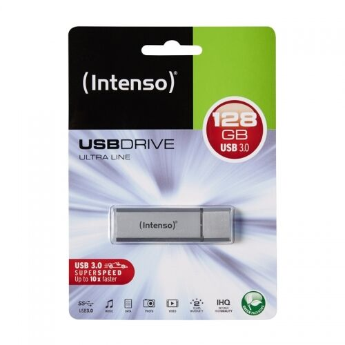 Intenso 128 GB-Ultra Line CHIAVE USB-USB 3.0 SuperSpeed-ALU ARGENTO-NUOVO