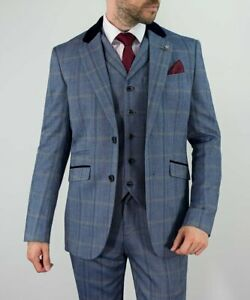 Homme-CAVANI-Connall-3-pieces-Carreaux-Bleu-Tweed-Slim-Fit-Costume-Ideal-pour-les-mariages