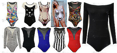 New Womens Ladies Celeb Mesh Insert Style Leotard Bodysuit Womens Party Body Top