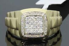 10K YELLOW GOLD .42 CARAT MENS REAL DIAMOND ENGAGEMENT WEDDING PINKY RING BAND