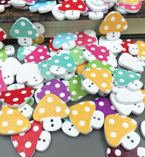50pcs DIY Craft 2 Hole Mixed Mushroom  Wooden Buttons Sewing Scrapbook 23mm
