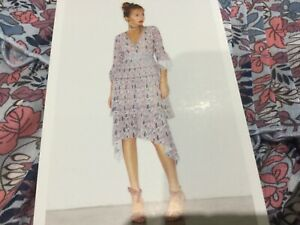 NWT-Foxiedox-New-Ladies-Small-UK-8-10-Pink-Floral-3-4-Sleeved-Layered-Dress