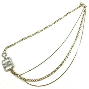 Womens-Designer-CHANEL-Necklace-Gold-with-Diamonte