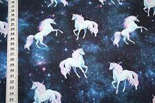 Jersey  Stoff Digitaldruck Einhorn Einhörner Sterne  1m