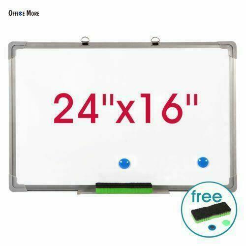 "Single Side Magnetic Writing Whiteboard Dry Erase Board Office W// Eraser 24/""x16/"""