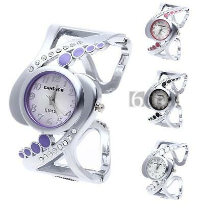 Lady Womens Quartz Bracelet Bangle Wrist Watch Round Dial Rhinestone Fashion