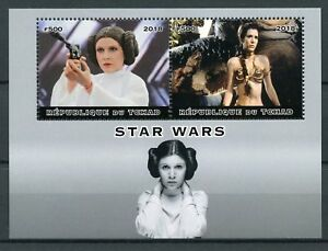 Chad-2018-Neuf-sans-charniere-Star-Wars-Princess-Leia-Carrie-Fisher-2-V-M-S-Film-Movies-STAMPS