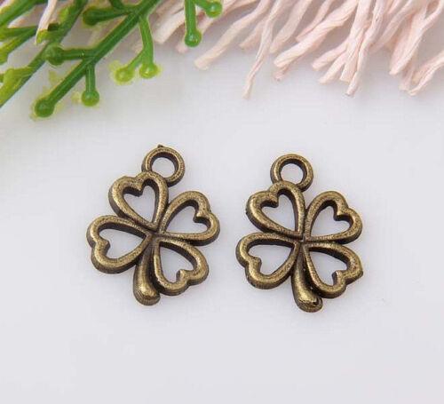 30pcs bronze plated four-leaf clovers pendants 17x13mm #1A1355