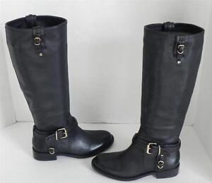 b9295c57ca5 Image is loading Vince-Camuto-Kabo-Black-Leather-Buckle-Equestrian-Knee-