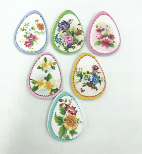 Wooden Buttons Oval Flower pattern Fit decoration Sewing scrapbooking 30mm