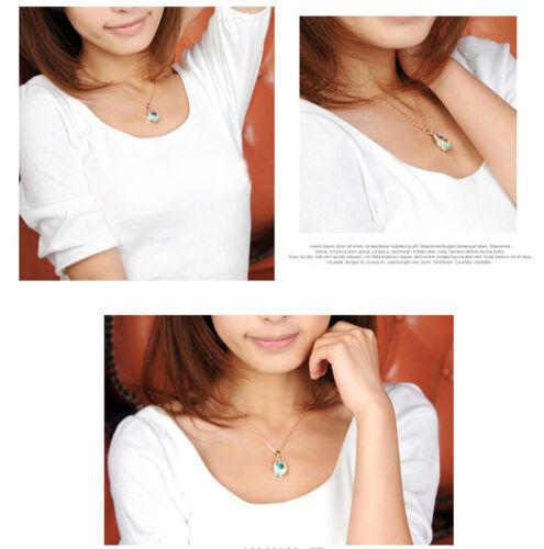 Elegant Gold Plated Teardrop Crystal Rhinestone Necklace Pendant Women Best Gift