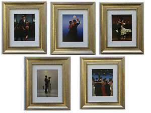 Dancers-Collection-by-Jack-Vettriano-Set-of-5-Framed-amp-Mounted-Art-Prints-Gold