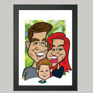 3 Person Digital Caricature From Photo - Personalised - Digital File (JPEG)
