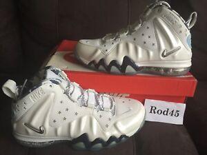 1f422ad850f24 Nike Barkley Posite Max Premium QS Foamposite White Silver Navy Blue ...