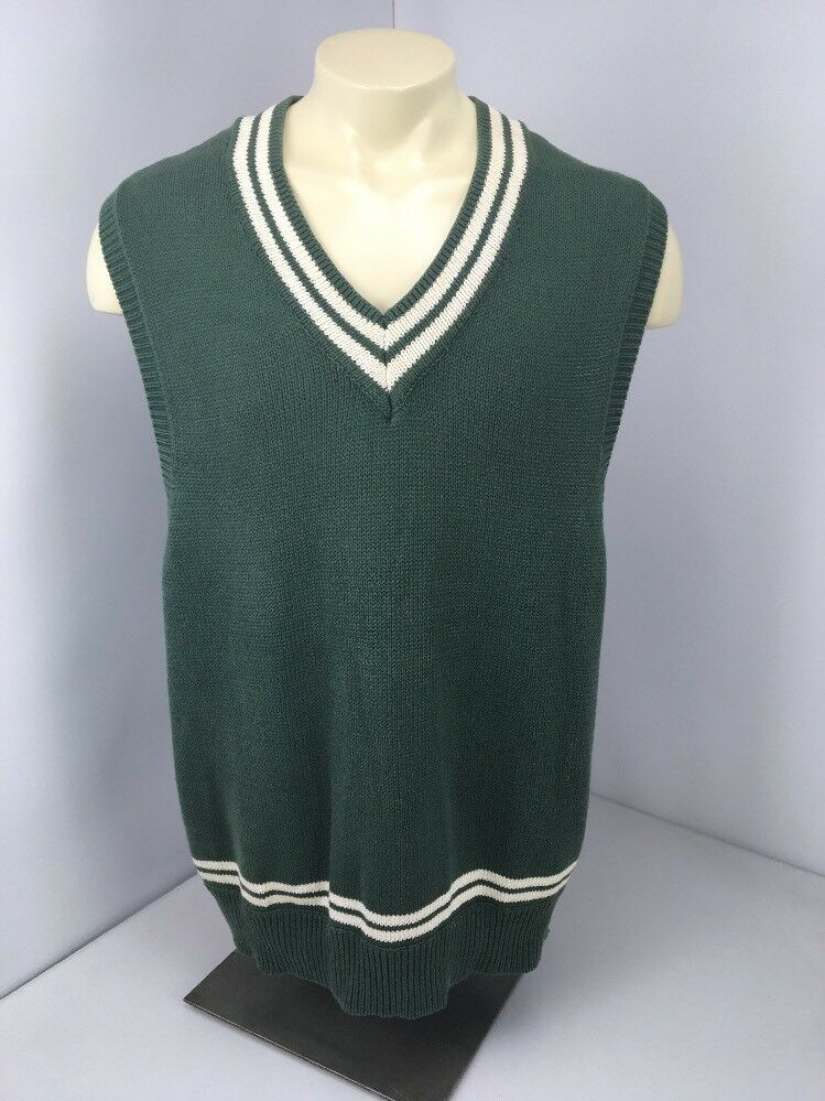 VTG 90s GAP Grün Weiß Preppy College Style Knit Pullover Sweater Vest Sz XL