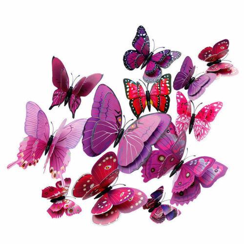 12pcs Papillon 3D Sticker Art Mural Porte Autocollants Décoration-Violet