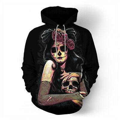 Red Rose Day Of The Dead Girl Tattoo Men Women Pullover Hoodie Sweatshirt S-5XL