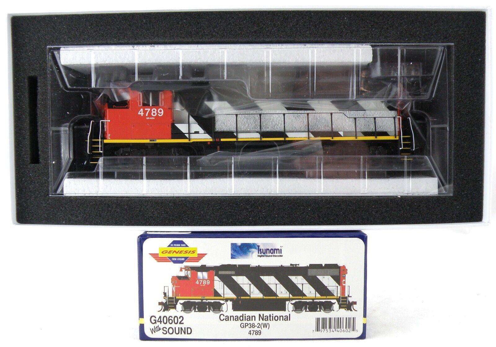 HO GP38-2W Locomotive w DCC & Sound - Canadian National  4789 - Athearn  G40602