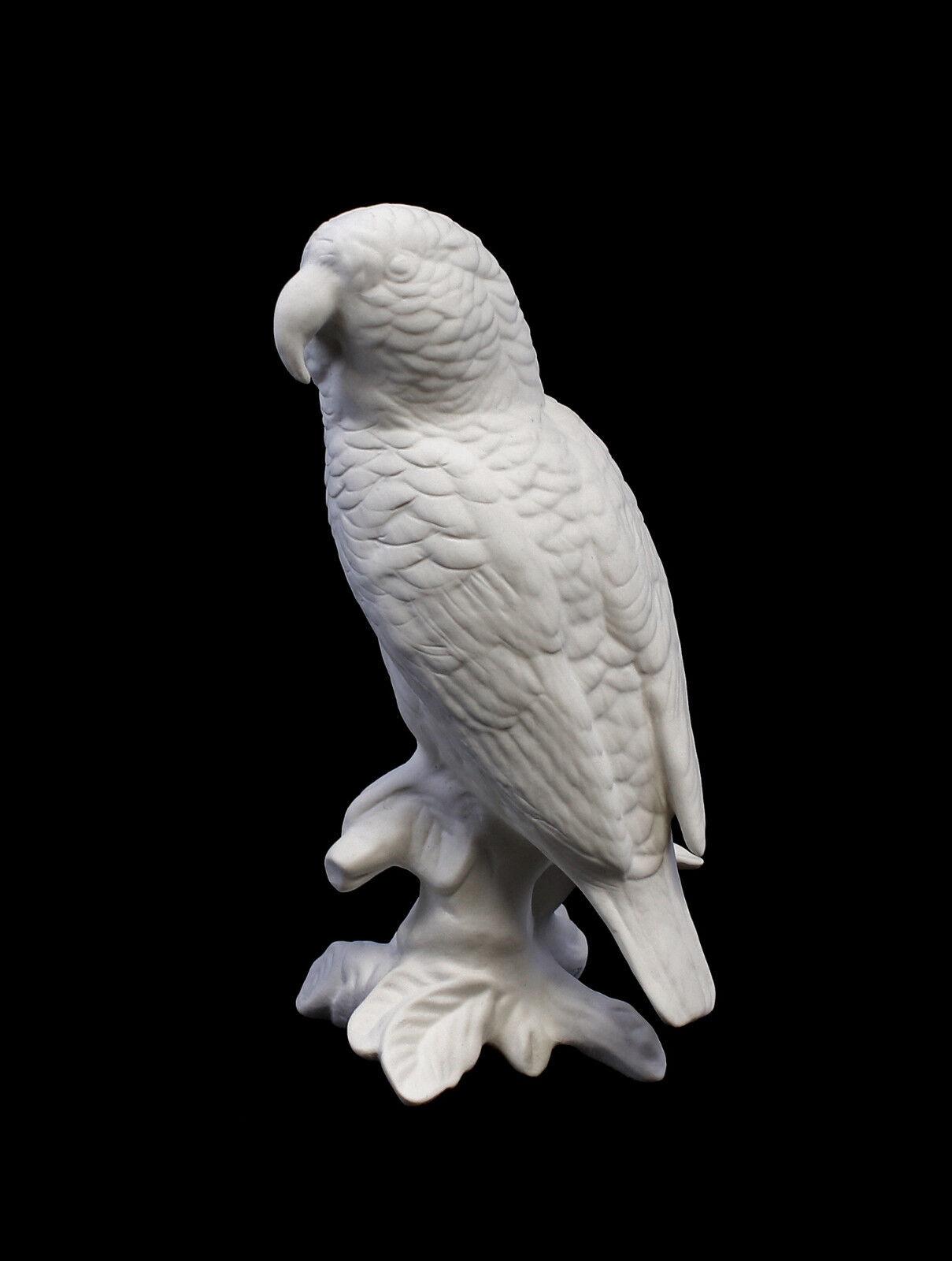 9959231 Porzellan Figur Papagei weiß bisquit Vogel Ens H16cm