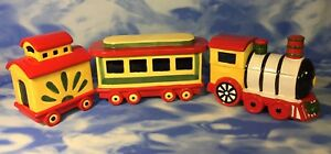 3-HTF-Pfaltzgraff-Christmas-Heritage-Train-Ceramic-Cookie-Jar-Canisters-1999