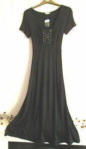 BNWT-LADIES-LOVELY-LONG-BLACK-DRESS-WITH-BEADING-DETAIL-BY-ME-SIZE-10