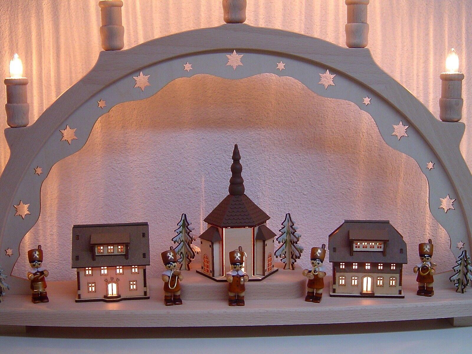 Lichterbogen Schwibbogen 3D 3D 3D Bergmann Kapelle mit 5 Bergmänner 66x41 cm 10204 | Spaß  69b7c4