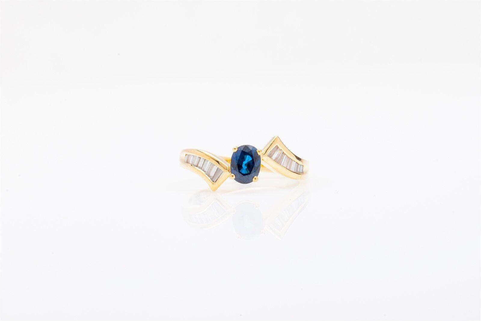 Signed  4000 CEI Designer 2ct bluee Sapphire Diamond 14k Yellow gold Ring