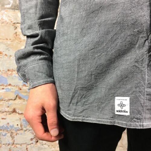 Addict NUOVO STANDARD A Maniche Lunghe Cappuccio Camicia Nero Taglia S