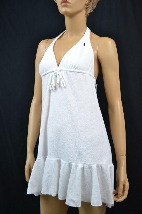 Ralph Lauren WHITE SWIM SUIT COVER-UP DRESS NAVY blueE PONY NWT S