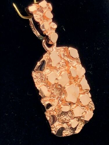 14k Rose Gold Solid Rectangle Nugget Style Charm Pendant 6.4g