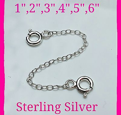 """Genuine Solid 925 Sterling Silver 3/"""" Safety CHAIN EXTENDER with 2 Lobster Clasps"""