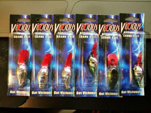 dive depth: 4-8feet 1//5oz Color: Chrome Lot of 6 Vicious Fishing VW Crankbait