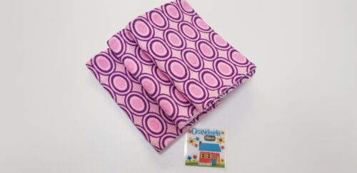 Burp Cloths Pink Retro Circles on x 3 Toweling Backed GREAT GIFT IDEA!!