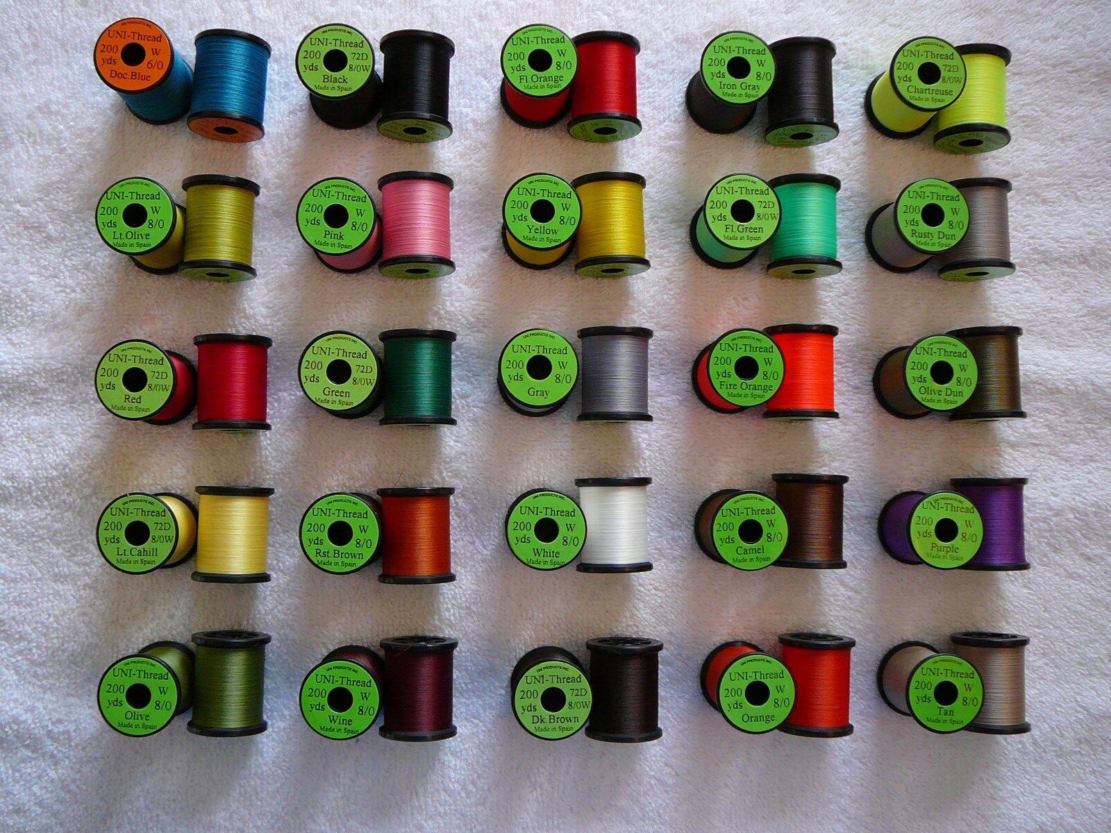 Uni-Thread Combo   8 0.. 200 yd Spool...Fly  Tying, Floss, Yarn, Tinsel, Mohair.  wholesale price