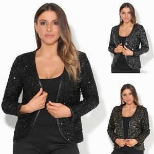 Womens-Sequin-Shrug-Bolero-Cropped-Top-Jacket-Blazer-Party-Evening-Coat