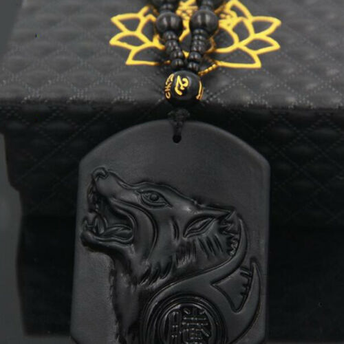 Perles Collier Nouveau chinois naturel obsidienne sculptés à la main Tête Loup Lucky Pendentif
