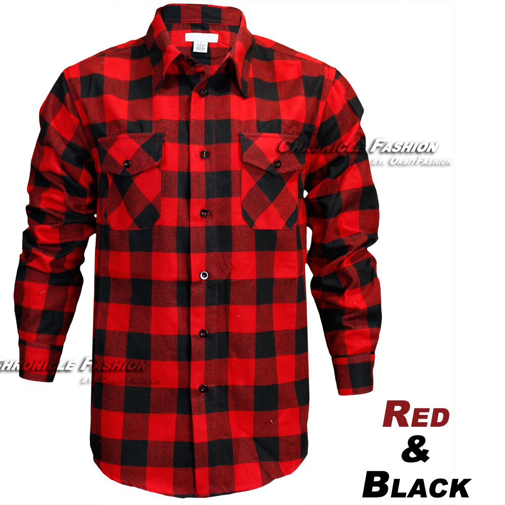 941b921d286 Details about Mens Brawny Buffalo Plaid Flannel Shirt Casual Long Sleeves  Button Front Check