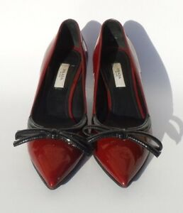 78aa9e64a22 PRADA Burgundy Red Patent Leather Black Bow Pointed Toe Kitten Heel ...