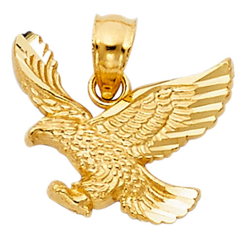 14K Solid Yellow Gold  Eagle Pendant Flying Bird Diamond Cut Necklace Charm