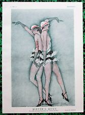 CHIMOT Original 1925 French Print ART DECO ROWE SISTERS PARIS MUSIC HALL DANCER
