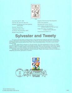 #9809 32c Sylvester & Tweety Stamp #3204a Souvenir Page