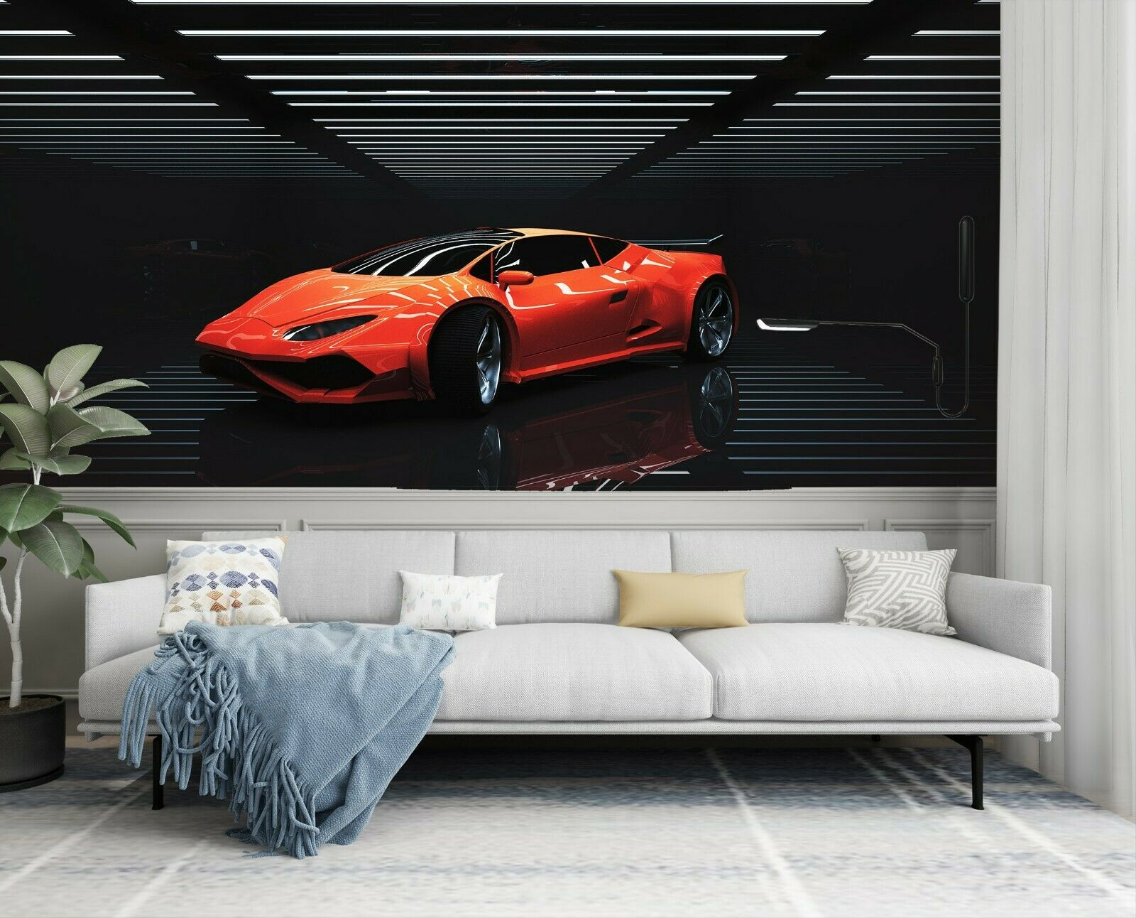 3D rot Coupe I115 Transport Wallpaper Mural Sefl-adhesive Removable Angelia