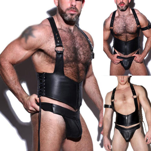 Hommes PU Cuir Bracelet Haut Slip String Jock Strap G-String Renflement Poche