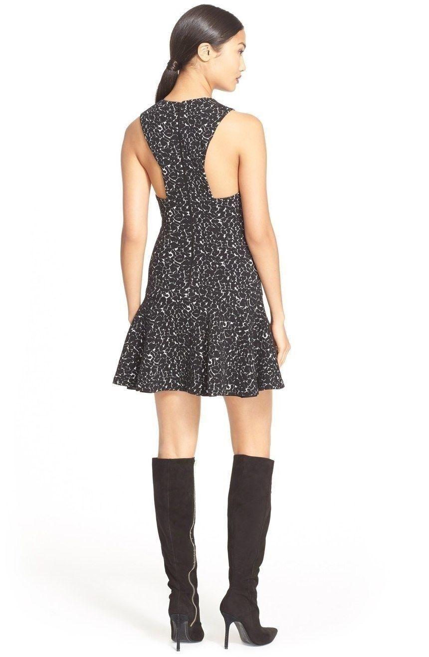 Alice + Olivia Garner Print Drop Waist Dress schwarz Weiß NWT 10 12