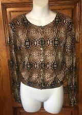 MNG by MANGO Leopard Print Lightweight Cardigan SWEATER, Women's Small, EUC