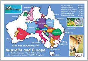 Details zu 10 Map Postcards of Australian vs Europe Comparison